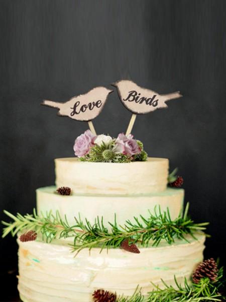 Lovely Wooden Cake Topper(Love and Birds)
