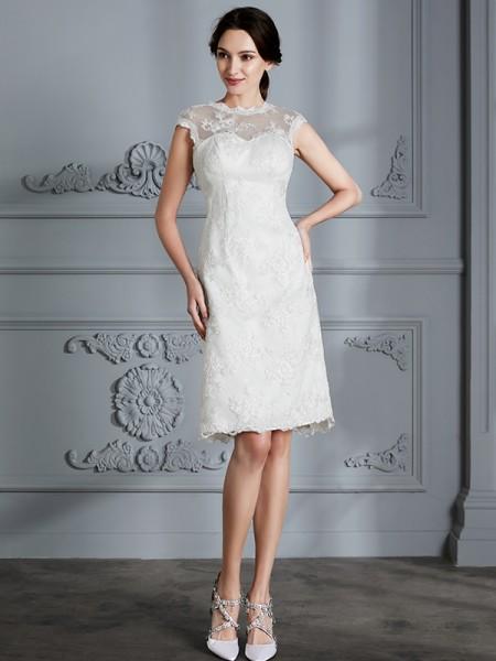 A-Line/Princess Satin Scoop Knee-Length Wedding Dresses