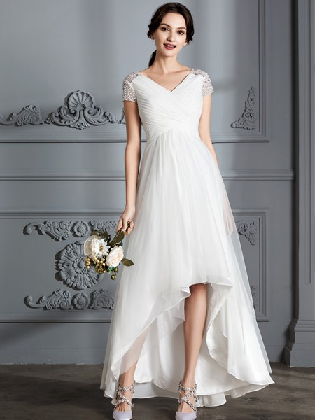 A-Line/Princess Tulle V-neck Asymmetrical Wedding Dresses