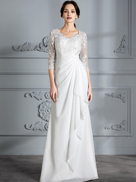 Sheath/Column Chiffon V-neck Floor-Length Wedding Dresses