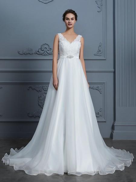 A-Line/Princess V-neck Floor-Length Chiffon Wedding Dresses