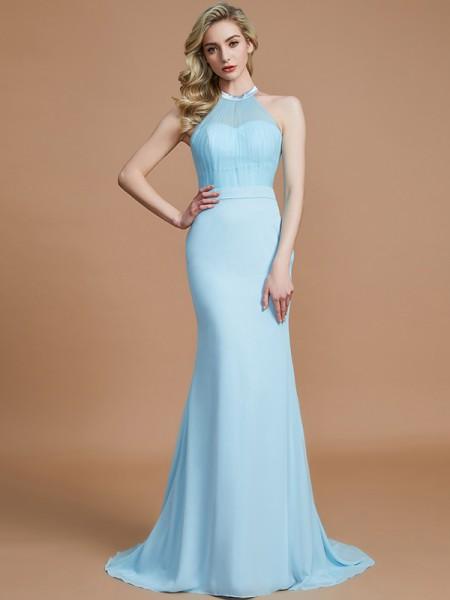 Trumpet/Mermaid Scoop Sweep/Brush Train Chiffon Bridesmaid Dresses