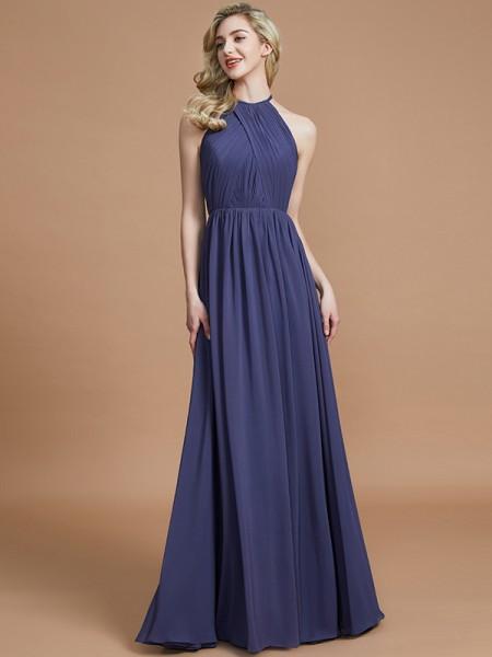A-Line/Princess Scoop Chiffon Floor-Length Bridesmaid Dresses