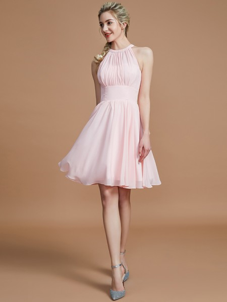 A-Line/Princess Chiffon Knee-Length Scoop Bridesmaid Dresses