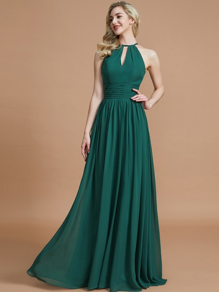 A-Line/Princess Chiffon Scoop Floor-Length Bridesmaid Dresses