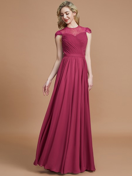 A-Line/Princess Scoop Chiffon Floor-Length Bridesmaid Dresses