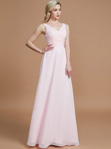 A-Line/Princess Floor-Length Chiffon V-neck Bridesmaid Dresses