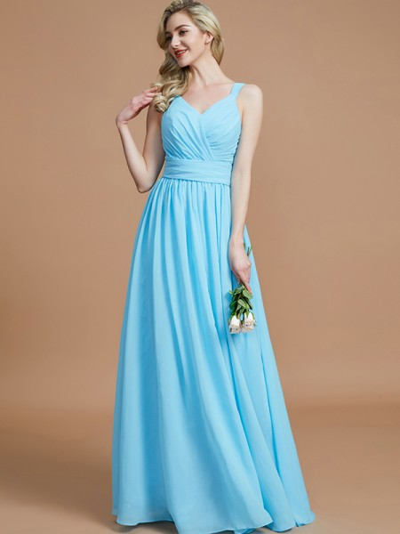 A-Line/Princess Chiffon V-neck Floor-Length Bridesmaid Dresses