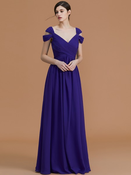 A-Line/Princess Off-the-Shoulder Floor-Length Chiffon Ruched Bridesmaid Dresses