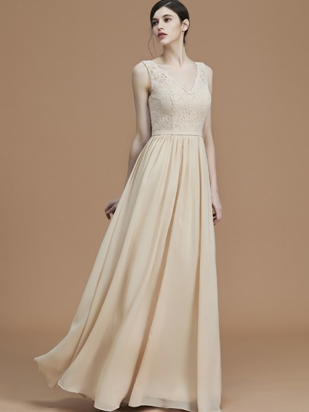 A-Line/Princess V-neck Floor-Length Chiffon Ruffles Bridesmaid Dresses