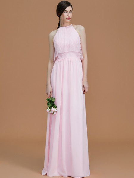 A-Line/Princess Halter Floor-Length Chiffon Ruffles Bridesmaid Dresses