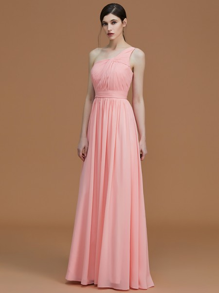 A-Line/Princess One-Shoulder Floor-Length Chiffon Ruched Bridesmaid Dresses