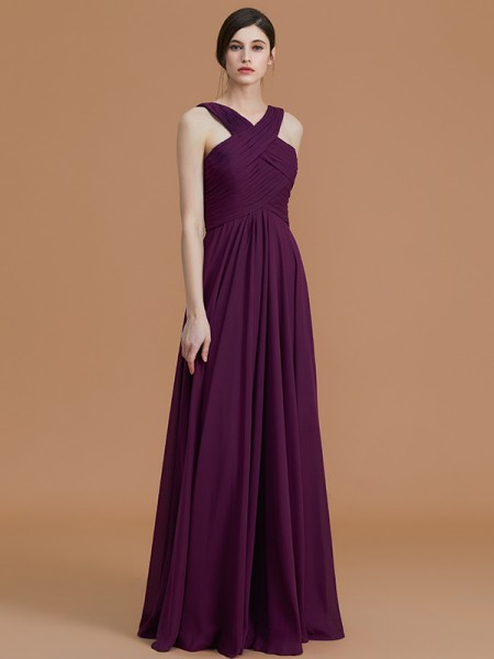 A-Line/Princess Halter Floor-Length Chiffon Ruched Bridesmaid Dresses