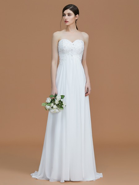 A-Line/Princess Sweetheart Sweep/Brush Train Chiffon Bridesmaid Dresses
