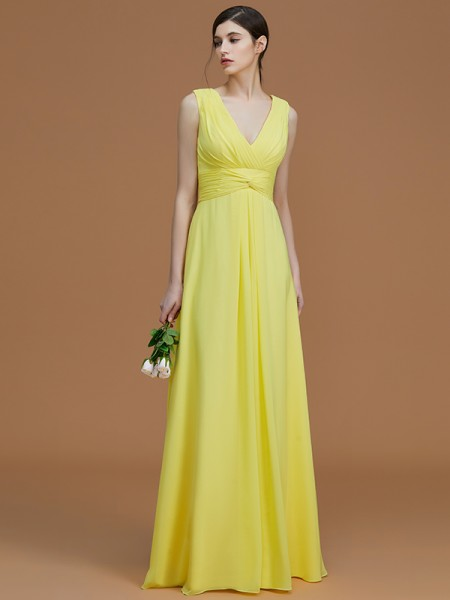 A-Line/Princess V-neck Floor-Length Chiffon Ruched Bridesmaid Dresses