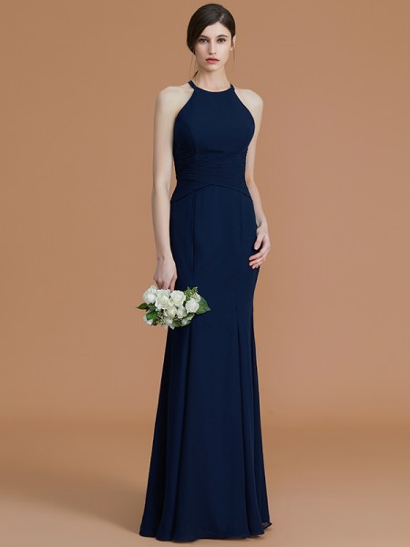 Trumpet/Mermaid Halter Floor-Length Chiffon Ruched Bridesmaid Dresses