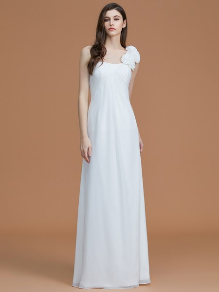 A-Line/Princess One-Shoulder Floor-Length Hand-Made Flower Chiffon Bridesmaid Dresses