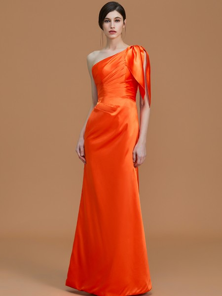 Trumpet/Mermaid One-Shoulder Floor-Length Satin Ruched Bridesmaid Dresses