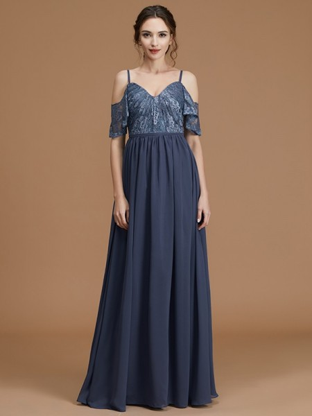 A-Line/Princess Spaghetti Straps Floor-Length Chiffon Bridesmaid Dresses