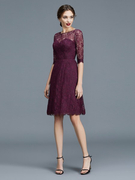 A-Line/Princess Bateau Knee-Length Satin Bridesmaid Dresses