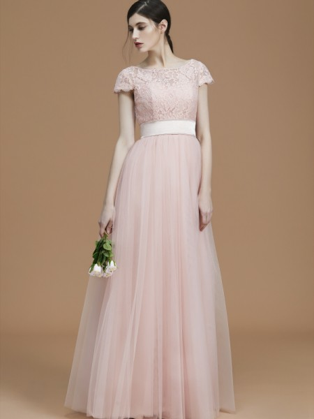 A-Line/Princess Bateau Floor-Length Tulle Sash/Ribbon/Belt Bridesmaid Dresses