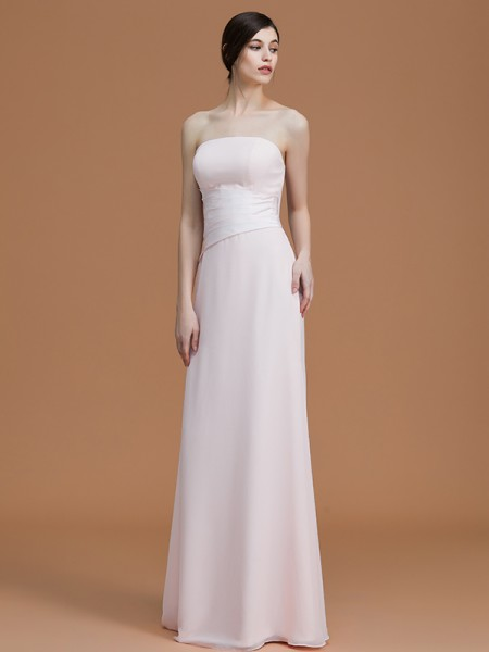 A-Line/Princess Strapless Floor-Length Chiffon Ruched Bridesmaid Dresses