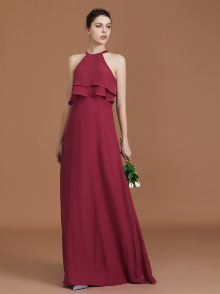 A-Line/Princess Scoop Floor-Length Chiffon Bridesmaid Dresses Ruffles