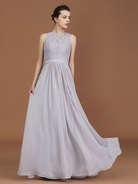 A-Line/Princess Scoop Floor-Length Chiffon Bridesmaid Dresses