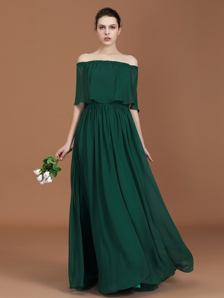 A-Line/Princess Off-the-Shoulder Floor-Length Chiffon Bridesmaid Dresses
