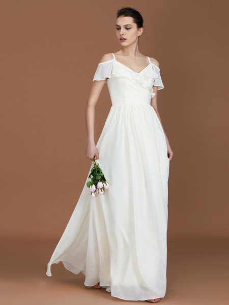 A-Line/Princess Spaghetti Straps V-neck Floor-Length Chiffon Ruched Bridesmaid Dresses