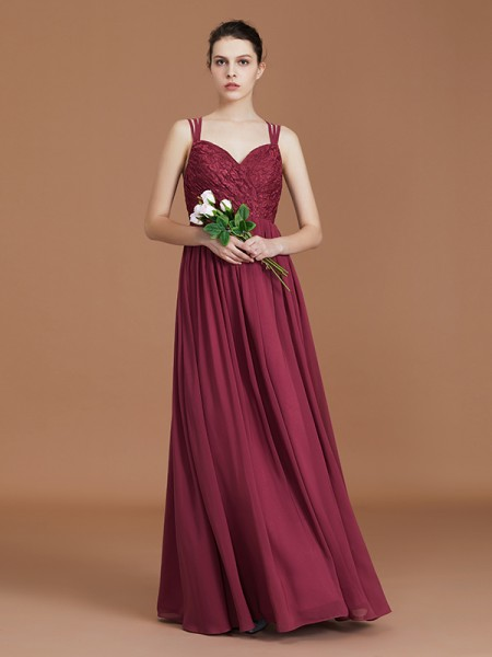 A-Line/Princess Lace Sweetheart Chiffon Floor-Length Ruched Bridesmaid Dresses