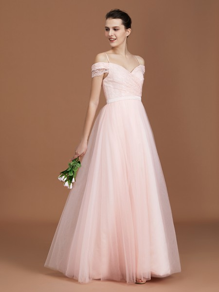 A-Line/Princess Lace Spaghetti Straps Sweetheart Floor-Length Tulle Ruched Bridesmaid Dresses