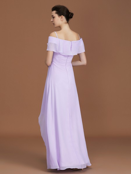 A-Line/Princess Asymmetrical Chiffon Off-the-Shoulder Ruched Bridesmaid Dresses