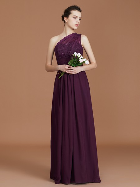 A-Line/Princess One-Shoulder Chiffon Floor-Length Bridesmaid Dresses