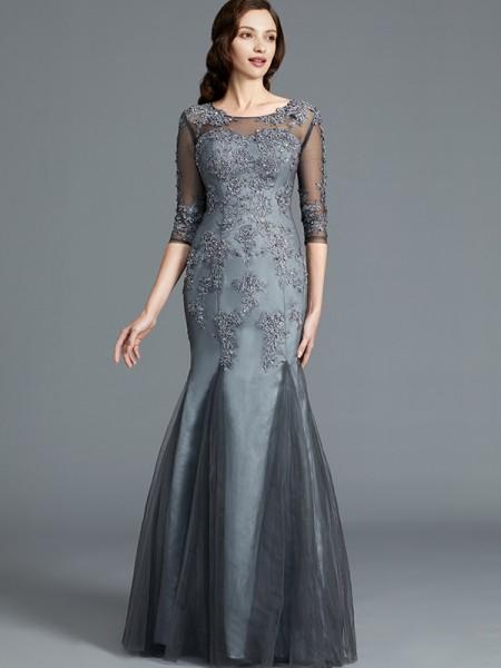 Sheath/Column Tulle Scoop Floor-Length Applique Mother of the Bride Dresses