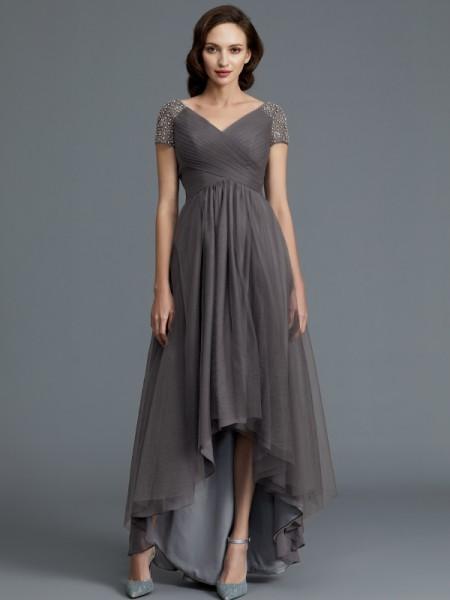 A-Line/Princess V-neck Asymmetrical Tulle Mother of the Bride Dresses