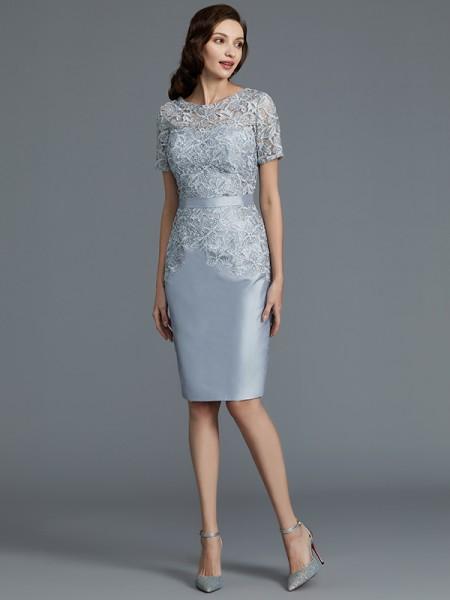 Sheath/Column Scoop Knee-Length Taffeta Mother of the Bride Dresses