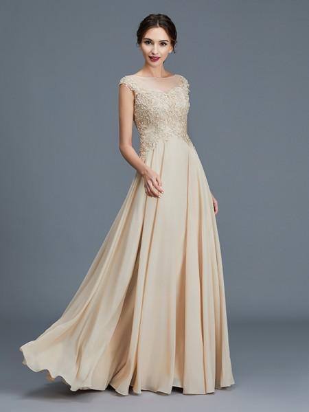 A-Line/Princess Scoop Chiffon Floor-Length Ruffles Mother of the Bride Dresses