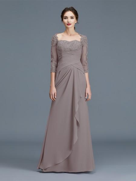 Sheath/Column Sweetheart Chiffon Floor-Length Ruffles Mother of the Bride Dresses