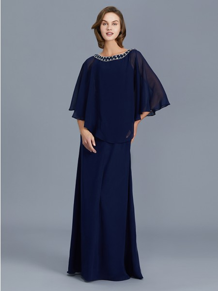 Sheath/Column Scoop Chiffon Floor-Length Mother of the Bride Dresses