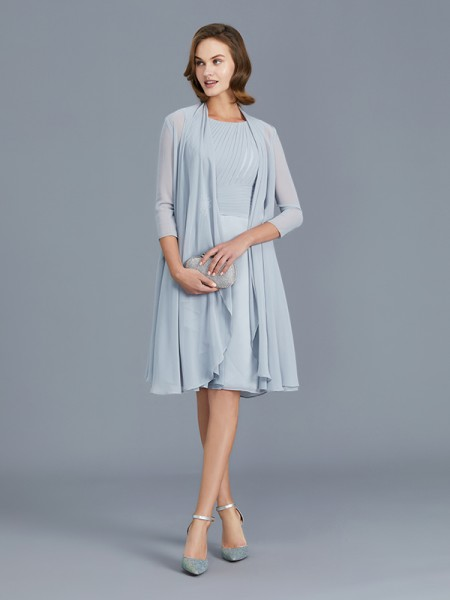 A-Line/Princess Scoop Chiffon Knee-Length Ruffles Mother of the Bride Dresses