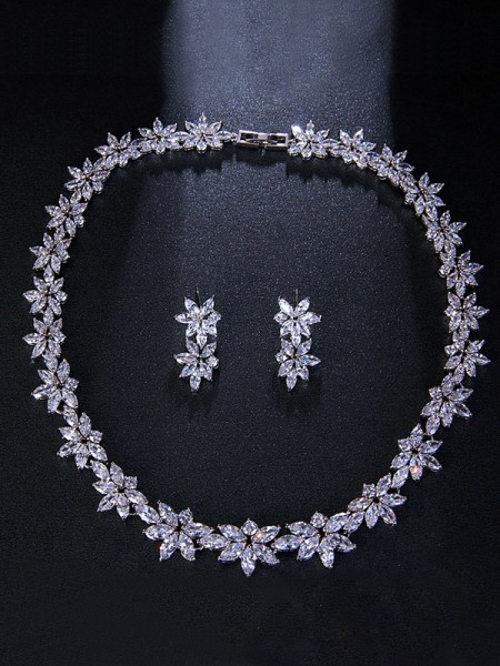 Occident Brilliant Alloy With Flowers Bridal Jewelry