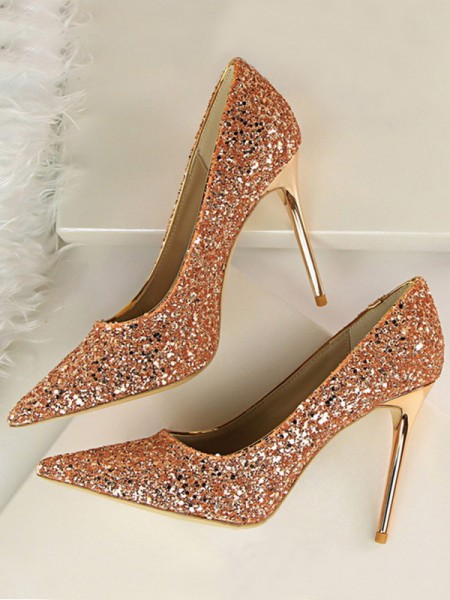 Sparkling Glitter Stiletto Heel Closed Toe High Heels
