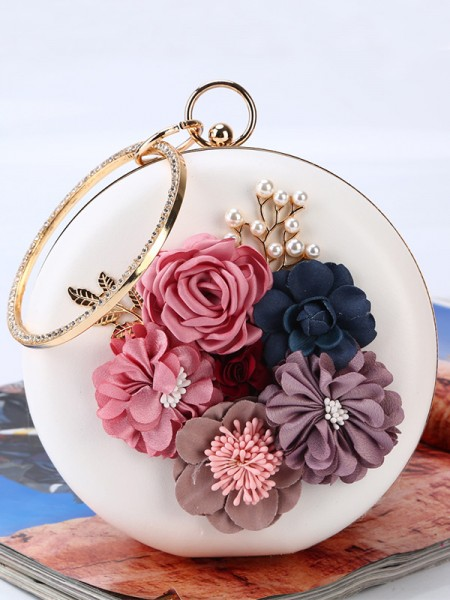 Round PU Flower Handbags