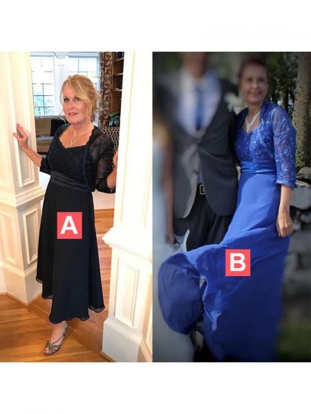 A-Line/Princess Straps Floor-Length Chiffon Applique Mother of the Bride Dresses