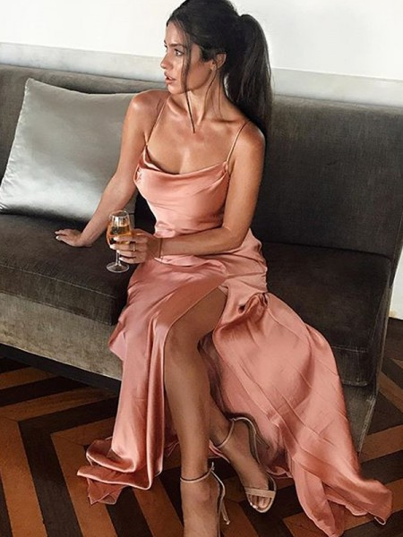 Sheath/Column Sleeveless Spaghetti Straps Floor-Length Silk like Satin Dresses