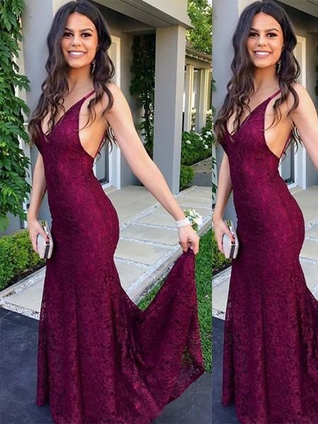 Trumpet/Mermaid V-neck Sleeveless Sweep/Brush Train Lace Dresses