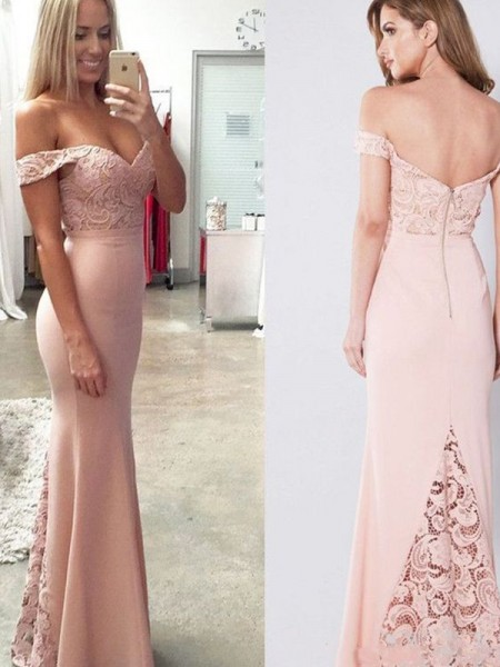 Sheath/Column Off-the-Shoulder Sleeveless Floor-Length Lace Spandex Dresses