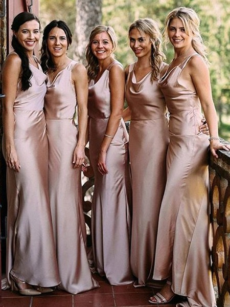 Sheath/Column V-neck Sleeveless Floor-Length Silk like Satin Bridesmaid Dresses