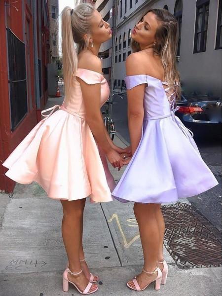 A-Line/Princess Satin Ruffles Off-the-Shoulder Sleeveless Short/Mini Dresses